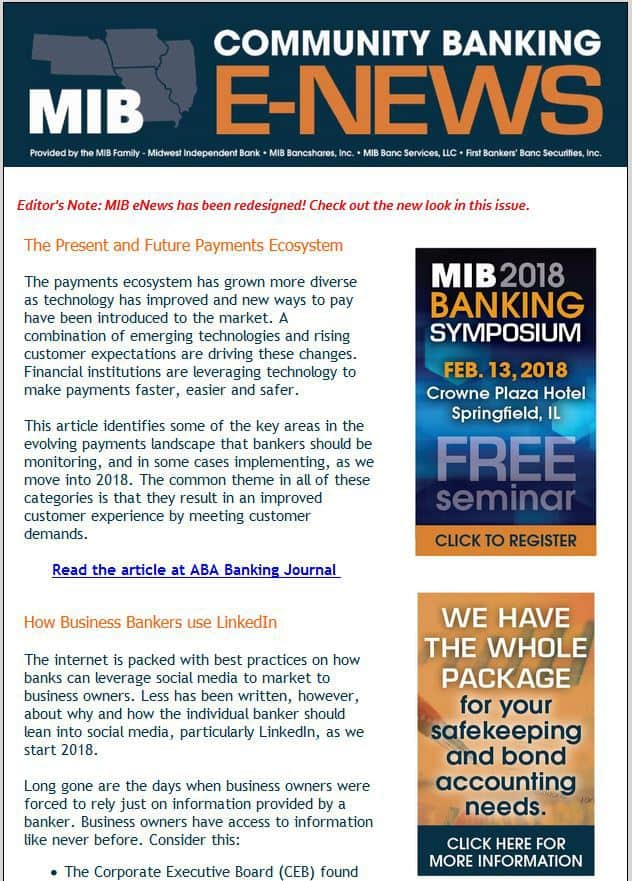 Click to view MIB Community Banking E-News January 2018 issue