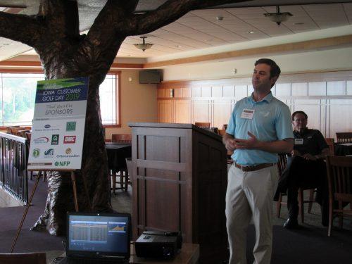 AW Spellmeyer addressing golfers at MIB golf event