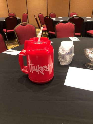 huskers cup on table