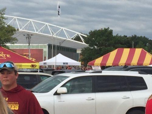 MIB tent across parking lot